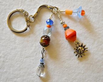 Blue and Orange Beaded Key Chain with Sun Charm