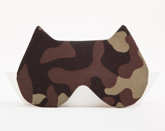 Cat Sleep Mask Green Army Camouflage Mask Cat eye mask Travel Accessories Pajama Party Favor Kids Eye mask Vacation Accessories