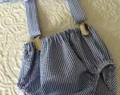 Navy seersucker suspenders diaper cover and matching bow tie