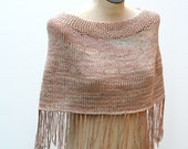 Ready to Ship: Soft Multicolor Neutral Hand Knit 100% Hand Dyed Sugarcane Viscose Gypsy Spring Caplet Shawl with Fringe - AmyLaRoux