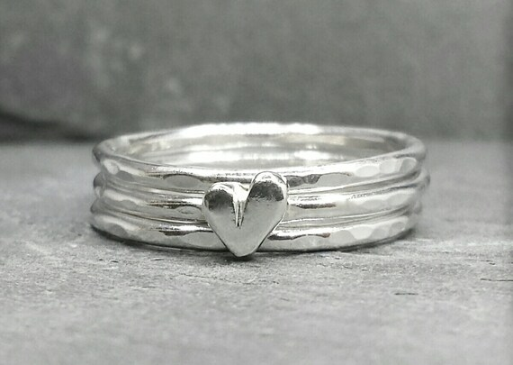 Little Sweetheart stacking ring set - sterling silver ring with sterling heart & 2 plain rings. UK, custom made, hand made, jewellery