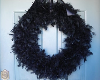 Black Feather Wreath 25'' (Other Colors and Sizes Available) Great for Halloween
