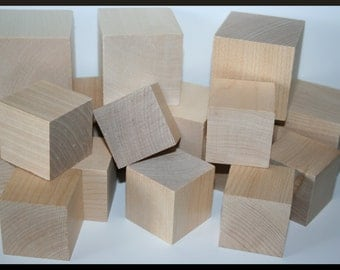 100- Wooden Blocks, DIY Wood Blocks, Wood Cubes, Square Blocks, Solid Wood Blocks- You Choose Your Size