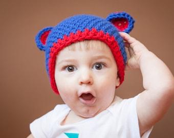 Crochet Chicago Cubs  Hat, photography prop, crochet hat, bear hat
