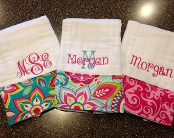Burp Cloths for Girls-Set of 3