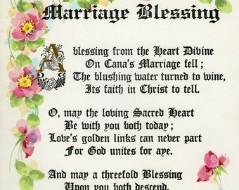 Vintage poetry  water color caligraphy marriage blessing signed