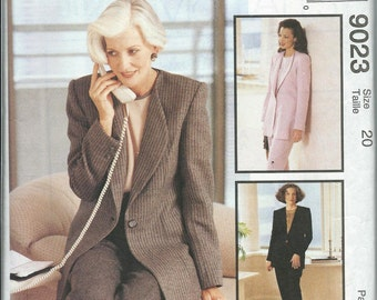 McCall's 9023 Misses Lined Jacket, Top and Pants Pattern, Palmer & Pletsch, Size 20 UNCUT