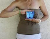 Shalane - 4x4 - Fine Art Giclee Print - Blue - Blue Eyes - Woman - Purple - Painting - Bindi - Tiny Print