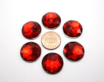 6 pcs Acrylic Faceted Rhinestone Cabochon - Red Circle Round - 20mm diameter