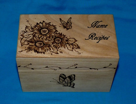 Decorative Recipe Boxes Delectable Essenceofthesouth Recipe Box Wood Burned Wood Recipe Card Box Decorating Inspiration
