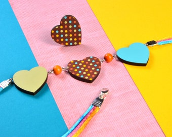 Mintapalinta POP Wooden Hearts Necklace: Olive + Chocolate Brown with Colorful Polka Dots + Turquoise