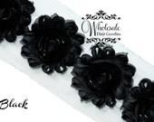 Shabby Flowers - BLACK Shabby Rose Trim - Shabby Chic - Shabby Flower Trim - DIY Flowers