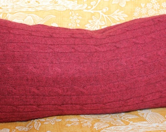 Dark Red Cable Cashmere Throw Pillow with feather insert, 21 x 10