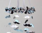 Mustache Nursery Mobile in Baby Blue, Black, Gray & White LARGE SIZE- Mustache Nursery, Little Man Nursery