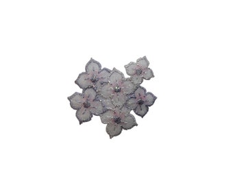 ID #6510 Glittery Silver White Pink Flowers Iron On Embroidered Patch Applique