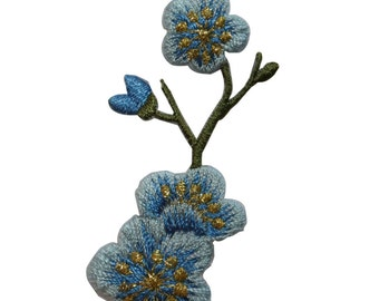 ID #6586 Light Blue Flowers and Buds Plant Iron On Embroidered Patch Applique