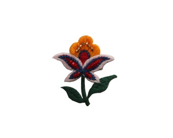 ID #6966 Orange Red White Beaded Flower Plant Iron On Embroidered Patch Applique