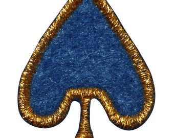 ID #8581 Blue Gold Poker Card Spade Gambling Embroidered Iron On Applique Patch