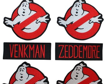 Set of 8 Ghostbusters Group Uniform Name Tags & No Ghost Signs Iron-On Applique Patches