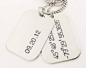 Latitude Longitude Personalized Dog Tags - Hand Stamped Mens Couples Wedding Necklace - Custom Mens Jewelry - Date & Coordinates Gift Idea