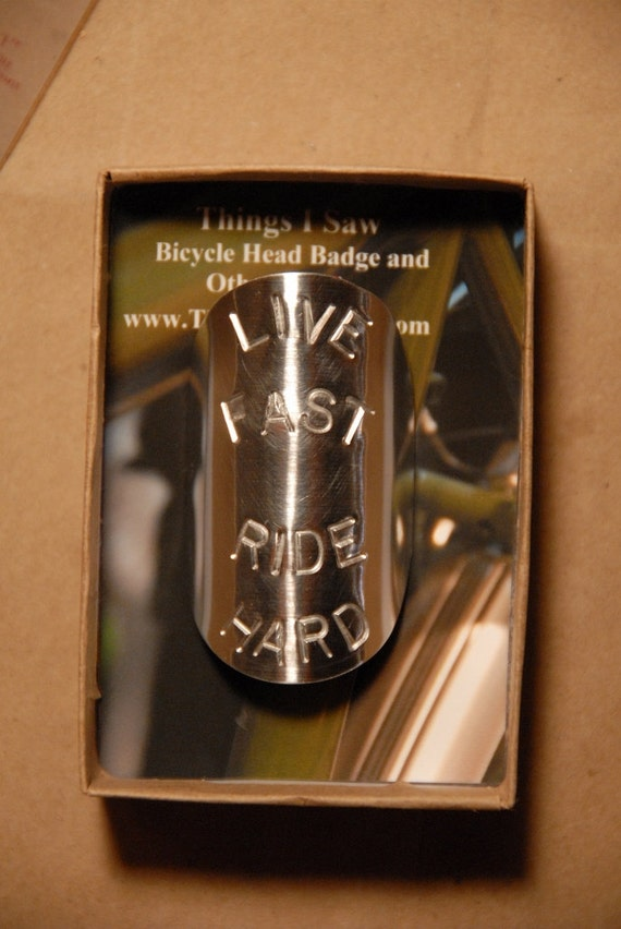Live Fast Ride Hard - Bike Head Badge with Gift Box
