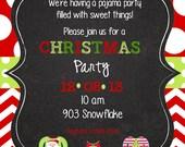 Christmas  Pajama Party Invitation-digital- printable- pj party