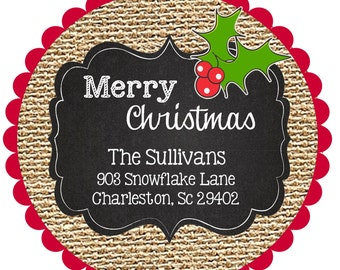 Christmas Stickers Labels - personalized-chevron- round-address- gift-burlap
