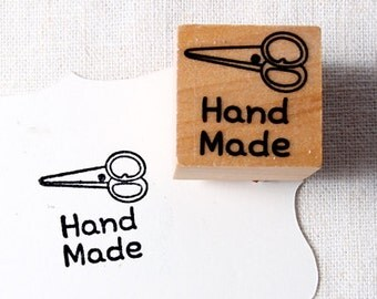 40% OFF SALE Hand made with scissors Rubber Stamp (20mm)