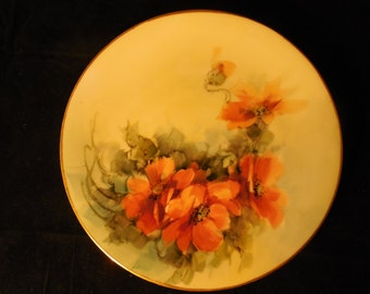 Antique Hand-painted Favorite Bavaria Single Roses Display Plate    p347