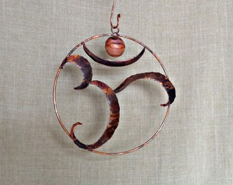 Large Fold Formed Copper Om Wall Hanging