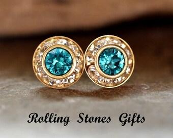 Blue Zircon 9mm Swarovski Surrounds Rhinestone Earrings-Blue Zircon Gold Crystal Studs-December Birthstone Studs-Flat Back 9mm Studs-