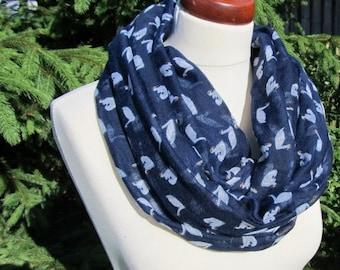 Spring Scarf, Navy Blue Scarf in darker grey mosaic,Long Summer Scarf, Women, Lightweight Scarf, Gift Ideas for Her