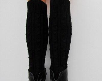 Hand Knit Boot Cuff, Wool, Chunky Leg warmers,Black Color, Leg Warmers,wellies boot cuff - raincity boot (6)