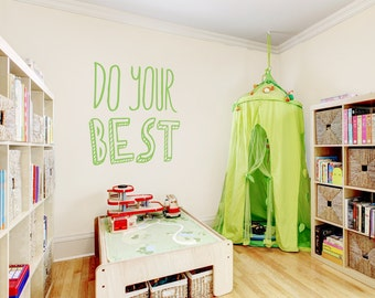 """Do Your Best Wall Quote Decal 36"""" x 39"""" -Inspirational Wall Quote, Typography Decal, Do Your Best Quote, Best Quote, Motivational Wall Quote"""