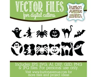 Halloween Silhouettes Vector Digital Cut File Eps Svg Gsd Dxf Ai