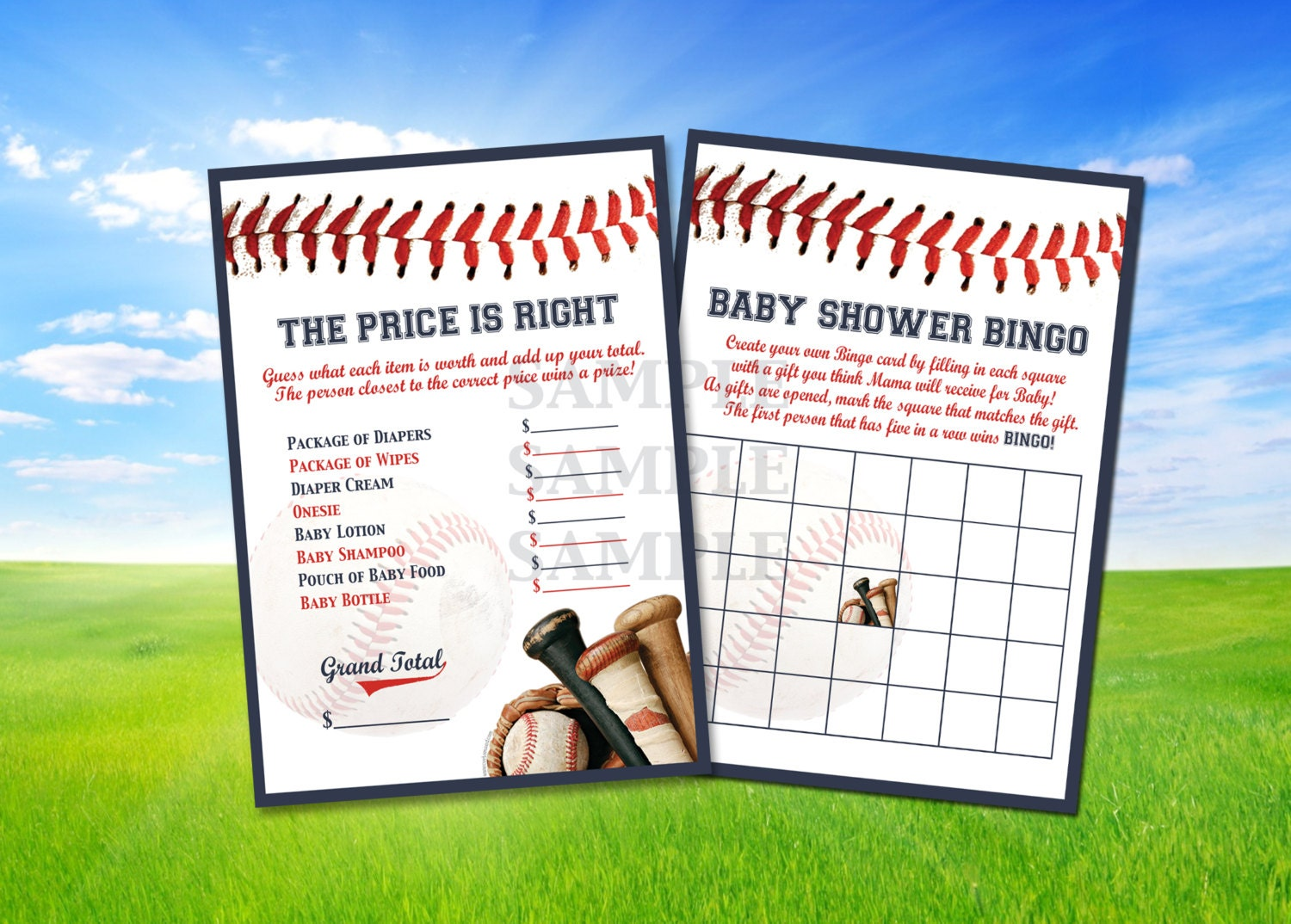 baseball baby shower games price is right bingo by customaed