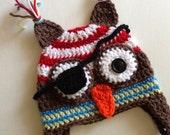 Crochet Pirate Owl Hat, Baby Hat, Halloween