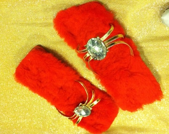 1950s Mad Red Furry Slippers Rhinestone & Gold Straps