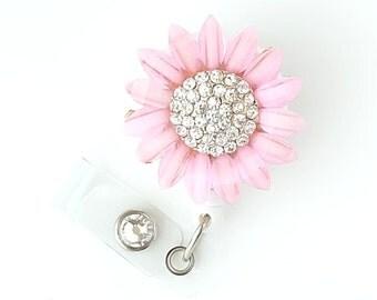 Pink Sunflower Bling - Pretty Badge Holder - Bling Badge Reel - Stylish ID Badge Clip - Nurse Jewelry - Teacher Gift - RN Badge BadgeBlooms