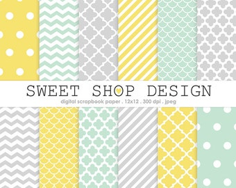 Digital Paper, Printable Scrapbook Paper Pack, Chevron, Stripes, Dots, Quatrefoil, Mint, Yellow, Gray, 12X12, Set of 12 Papers