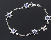 Sterling Silver David Star Blue Evil Eye Bracelet with initial. Eye Crystal Lined with Sterling Silver, Protection Charm, Amulet.
