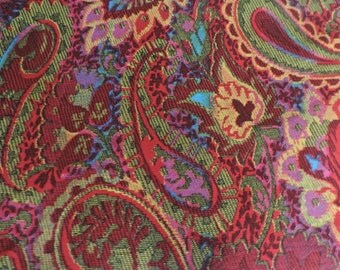Vintage 1960's Paisley Flower Print Fabric/ Material