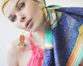 Blue green gold colorful MANLIO BONETTI large square scarf