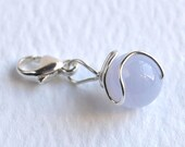Something Blue Lace Agate Sterling Silver clip on lobster charm Throat Chakra Calming