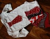 Valentine's Day Iron On Tie Applique for Baby Boy Onesie