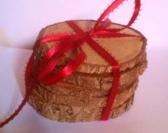 Great wedding gift! Unique hostess gift! Beauriful, rustic home decor item. Set of six natural wood coasters