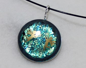 Necklace, Jewelry, Pendant ,Fused Glass, Dichroic, Artisen Glass ,Hand Wrapped,Unique Jewelry ,French Ear Wires, 8