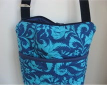 Quilted crossover purse, crossbody bag with zipper closure ideal travel bag