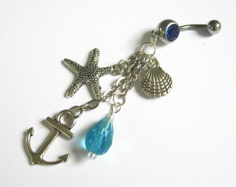 Anchor Belly Button Jewelry, Nautical Belly Ring, Starfish Navel Piercing, Seashell, Beach, Body Jewelry, Personalized Birthstone Belly Ring