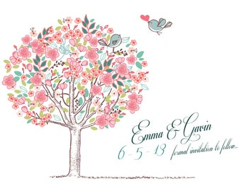 Save The Date Magnet, Card or Postcard . Love Birds